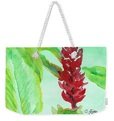 Weekender Tote Bag featuring the painting Tropical Flowers 2 by C Sitton