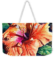 Weekender Tote Bag featuring the painting Tropical Hibiscus by Marionette Taboniar