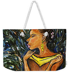 Weekender Tote Bag featuring the painting Tropical Shower by Xueling Zou