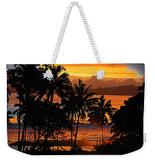 Weekender Tote Bag featuring the photograph Tropical Sunset In Blues by Jocelyn Friis