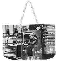 Truck Driver In His Cab Weekender Tote Bag