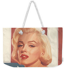 True Blue Marilyn In Flag Weekender Tote Bag