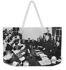 Truman Announces V-e Day Weekender Tote Bag by Underwood Archives
