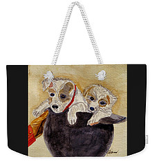 Weekender Tote Bag featuring the painting Trump And Tillie by Angela Davies