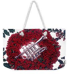 Trumpet On Red Berry Wreath Weekender Tote Bag
