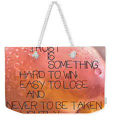 Weekender Tote Bag featuring the photograph Trust Is Something by Vicki Ferrari