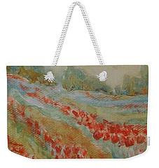Weekender Tote Bag featuring the painting Tulip Field by Jane  See
