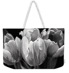 Tulip Flowers Black And White Weekender Tote Bag by Jennie Marie Schell
