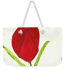 Weekender Tote Bag featuring the painting Tulip Of The Heart by Tracey Williams