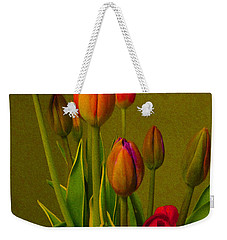 Tulips Against Green Weekender Tote Bag by Nina Silver