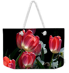 Weekender Tote Bag featuring the photograph Tulips And Daffodils by Lucinda Walter