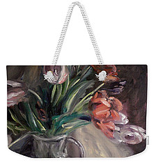 Weekender Tote Bag featuring the painting Tulips by Donna Tuten