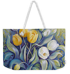 Weekender Tote Bag featuring the painting Tulips by Elena Oleniuc