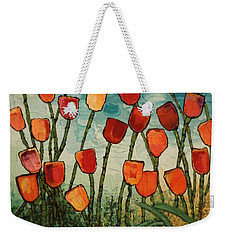Weekender Tote Bag featuring the painting Tulips by Linda Bailey