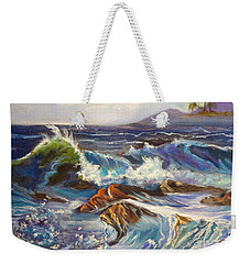 Weekender Tote Bag featuring the painting Turbulent Waters Hawaii by Jenny Lee