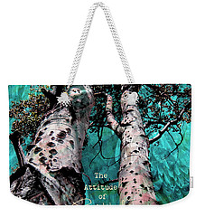 Weekender Tote Bag featuring the photograph Turquois Trees  by Cindy Greenstein