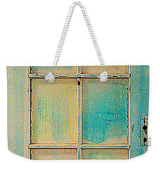 Weekender Tote Bag featuring the painting Turquoise And Pale Yellow Panel Door by Asha Carolyn Young