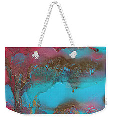 Turquoise And Pink Abstract Painting Weekender Tote Bag