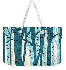 Turquoise Birch Trees Weekender Tote Bag