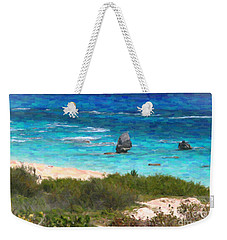 Weekender Tote Bag featuring the photograph Turquoise Ocean And Pink Beach by Verena Matthew