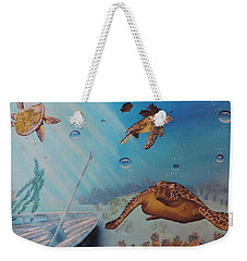 Turtles At Sea Weekender Tote Bag by Dianna Lewis