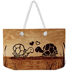 Turtles Love Coffee Painting Weekender Tote Bag