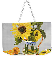 Tuscan Pitcher And Sunflowers Weekender Tote Bag by Carol Sweetwood