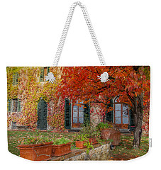 Tuscan Villa In Autumn Weekender Tote Bag