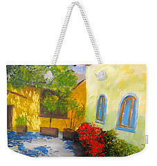 Weekender Tote Bag featuring the painting Tuscany Courtyard 2 by Pamela  Meredith