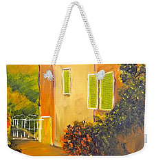 Weekender Tote Bag featuring the painting Tuscany Courtyard by Pamela  Meredith