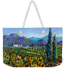 Weekender Tote Bag featuring the painting Tuscany Sunflowers Miniature by Lou Ann Bagnall