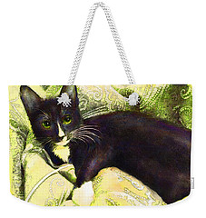Weekender Tote Bag featuring the digital art Tuxedo Cat by Jane Schnetlage