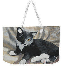 Weekender Tote Bag featuring the painting Tuxedo Kitten by Jeanne Fischer