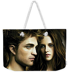 Weekender Tote Bag featuring the painting Twilight  Kristen Stewart And Robert Pattinson Artwork 4 by Sheraz A
