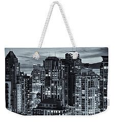 Weekender Tote Bag featuring the photograph Twilight On Cityscape Of Vancouver Overlooking English Bay - Greeting Card by Amyn Nasser