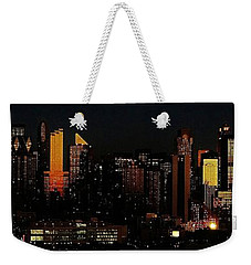 Weekender Tote Bag featuring the photograph Twilight Reflections On New York City by Lilliana Mendez