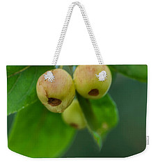 Weekender Tote Bag featuring the photograph Twin Berries by Jacqui Boonstra