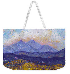 Weekender Tote Bag featuring the painting Twin Peaks Above The Fruited Plain by Margaret Bobb