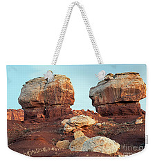 Twin Rocks At Sunrise Capitol Reef National Park Weekender Tote Bag