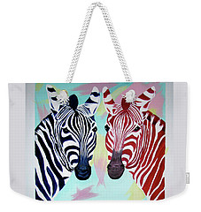 Weekender Tote Bag featuring the painting Twin Zs by Phyllis Kaltenbach