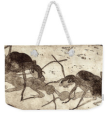 Two Ants In Communication - Etching Weekender Tote Bag