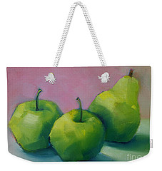 Two Apples And One Pear Weekender Tote Bag