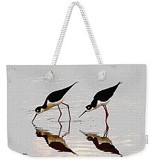 Two Black Neck Stilts Eating Weekender Tote Bag