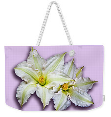 Two Clematis Flowers On Pale Purple Weekender Tote Bag by Jane McIlroy