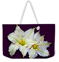 Two Clematis Flowers On Purple Weekender Tote Bag by Jane McIlroy