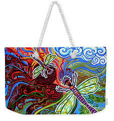 Two Dragonflies Weekender Tote Bag by Genevieve Esson