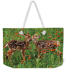 Two Fawns Talking Weekender Tote Bag by Chris Scroggins