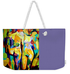 Weekender Tote Bag featuring the painting Two Nudes by Helena Wierzbicki