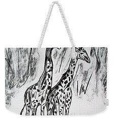 Weekender Tote Bag featuring the drawing Two Giraffe's In Graphite by Janice Rae Pariza