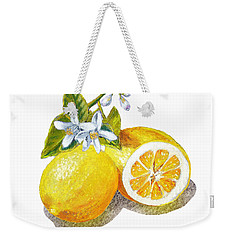 Weekender Tote Bag featuring the painting Two Happy Lemons by Irina Sztukowski